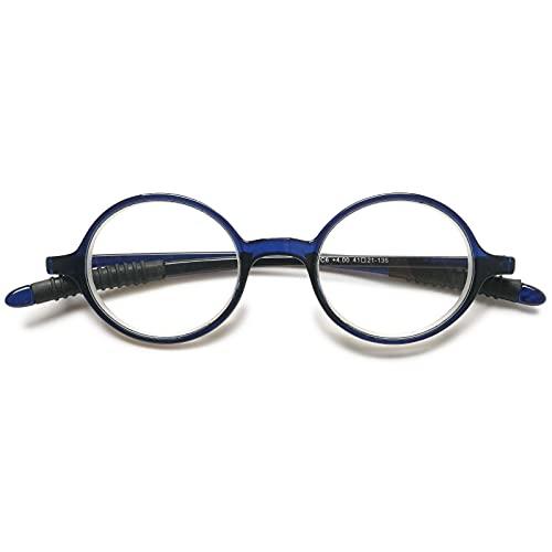 VEVESMUNDO Lesebrillen Damen Herren Lesehilfe Sehhilfe Retro Runde Schmal Flexibel Leicht Nerd Klein Brillen mit Stärke 1.0 1.5 2.0 2.5 3.0 3.5 4.0