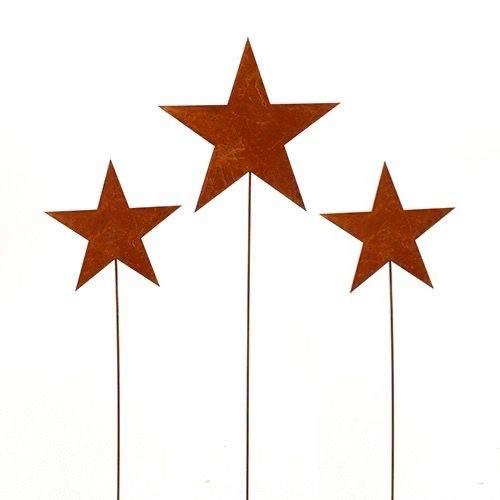 Stern, Sterne; Metall, Rost; 3 Stück; 1 x 65 cm, 2 x 50 cm; Gartenstecker, Blumenstecker, Beetstecker