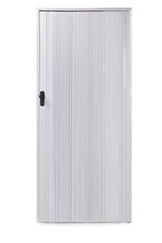 Ondis24 Falttür Ayto, Schiebetür bis 84cm Breite & 215cm Höhe, Holzstruktur, abschließbar (Weiß)