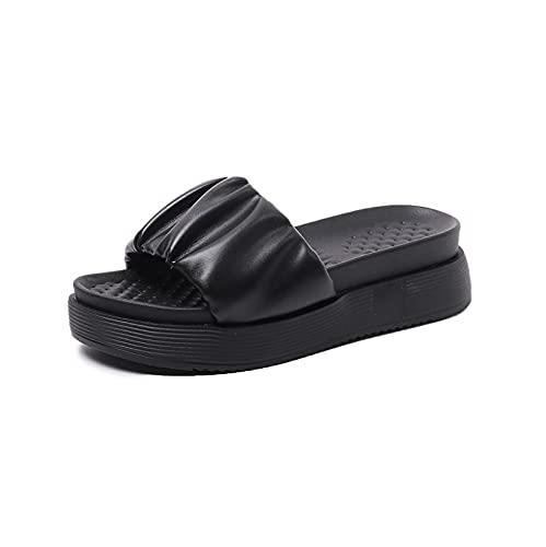 Sandalias de plataforma plisadas para mujer, con tacón medio, cómodas, con puntera abierta, estilo de deslizamiento, Black, 37.5 EU