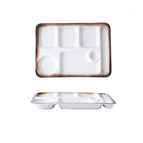 PORCN Plato de rejilla de cerámica japonesa para plato de cena de una persona para sistema de comidas separado Divisor del hogar vajilla creativa para adultos-E
