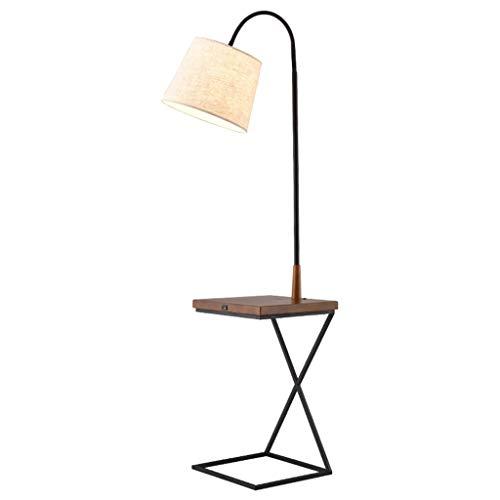 QTDH Minimalist Ad Arco dienblad vloerlamp en zijsofa End Table, Nordic metaal voor hal licht met USB-oplaadkabel voor woonkamer en slaapkamer