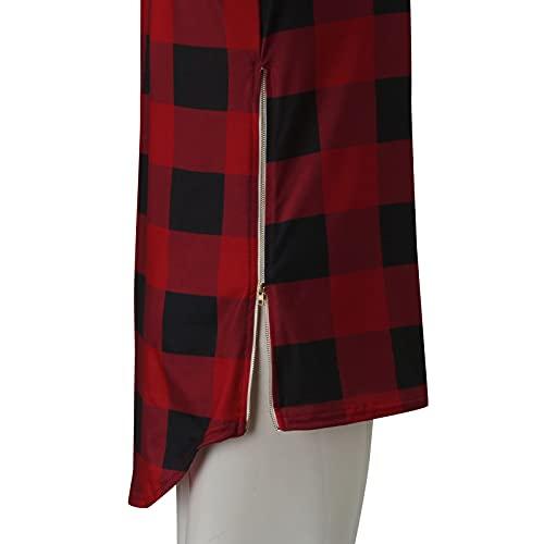 Zldhxyf Femme Col V Haut Manches Longues T-shirt Blouse Tops Carreaux Sweatshirt Multicolore Sportswear Casual Été Pullover, Blanc., M