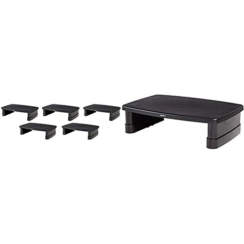 Amazon Basics Soporte Ajustable para Monitor, 5 Unidades + Soporte para Monitor y portátil de Altura Ajustable con Patas Antideslizantes