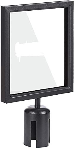 Displaysign Pizarra informativa A4 negra para postes de barrera con correas.