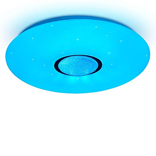 Alexa Deckenleuchte Led 24W, Ø 40CM,Farbwechsel, Sternen, dimmbar, Warmweiss- Kaltweiss, 2800-6500 Kelvin, RGB Farbwechsel Deckenlampe kompatibel mit Amazon Alexa