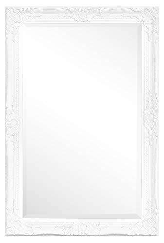 Rococo by Casa Chic – Weißer Shabby Chic Wandspiegel – 90 x 60 cm – Handgefertigter Spiegel – Barock – Groß – Massivholz – Antik Weiss