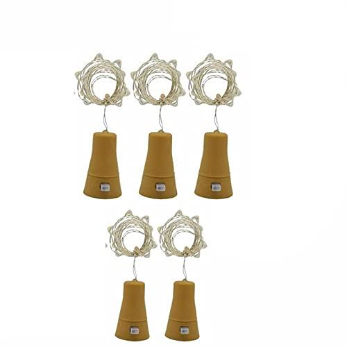 GOUER 5 luces para botellas, luces para botellas de vino, con corcho, funciona con pilas, forma de corcho, minicadena de luces para botellas de licor, manualidades, fiestas, bodas, decoración
