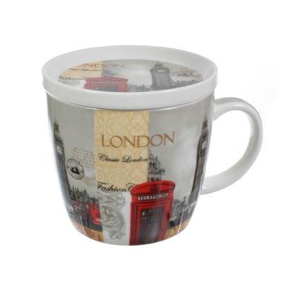 Big Ben Londres Bus Scènes Porcelaine Fine Tasse et dessous de verre