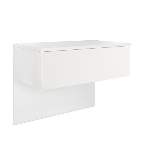 Vladon Nachttisch Nachtkonsole Sleep, Korpus in Weiß matt/Front und Seiten in Weiß matt