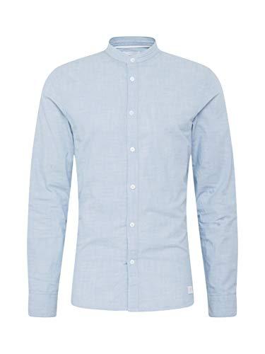 Nowadays Meliertes Hemd mit Stehkragen blau (654 Blue) XL