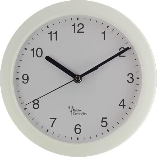EUROTIME 53850-00 Horloge murale radio-pilotée avec boîtier en plastique Blanc 25 cm
