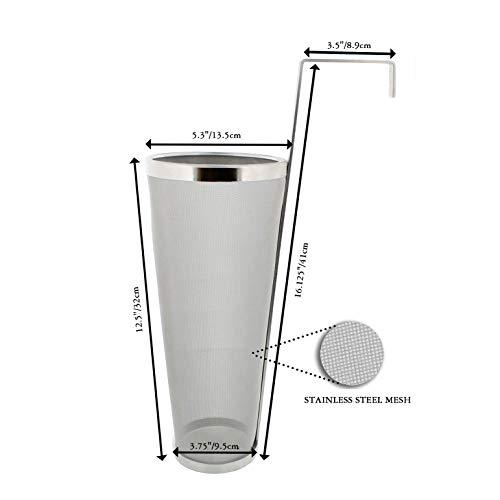 Product Image 6: Brewing Hopper Spider Strainer, ProMaker Stainless Steel 1 Gallon 300 Micron Mesh Cartridge Hop Spider Beer Hops Filter Homebrew Hops Beer Tea Kettle Brew Filter (5.3 X 16 Inch)