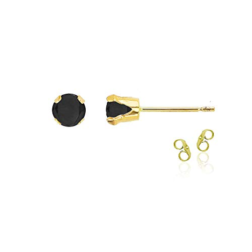 14K Yellow Gold Plated 925 Sterling Silver 4mm Round Black Onyx Birthstone Stud Earrings