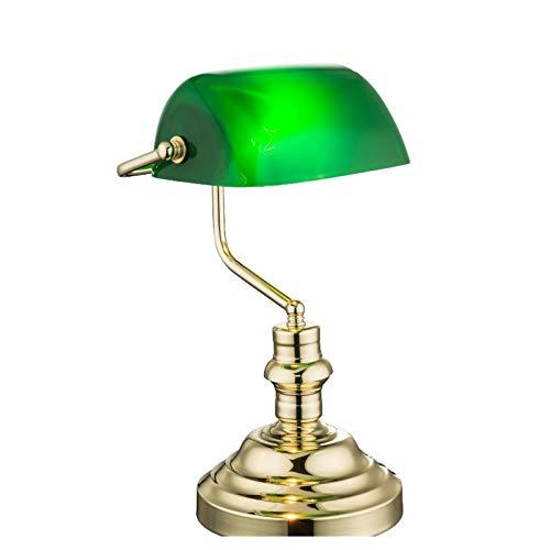 Lampada da scrivania in ottone, lampada da tavolo, paralume retrò (altezza 36 cm, lampada da comodino, paralume verde)