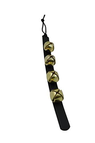 Door Hanging Bells – Sleigh Bells Door Hanger – Bells on Leather Strap – Shopkeepers Bell Over The Door – Jingle Bells for Christmas Décor (14' Black Leather Strip, 4 Brass Bells)