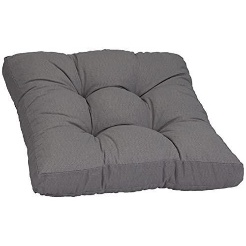 Beo Sitzkissen 60x60 cm wasserabweisend für Lounge Gartenmöbel | Made in EU Lounge-Kissen Grau | Stuhlkissen mit hoher Lichtechtigkeit - UV-Ausbleichschutz | Öko-Tex geprüft schadstofffrei