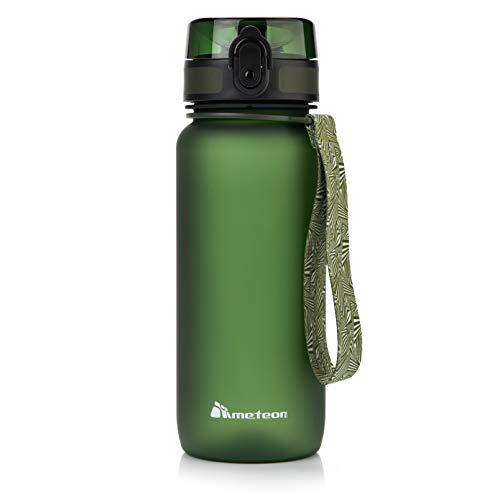 Botella Agua sin BPA Tritan Plastico Water Bottle Reutilizable para Niños Juventud y Adultos Ideal para Deportes Oficina Escuela Gimnasio Ciclismo Varios Tamaños y Colores (500ml, Verde oscuro)