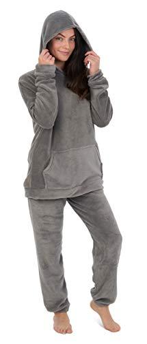 Pijamas para Damas de Mujer Damas Pijama de Pijama cálido cálido   pantalón de Franela o pantalón de Franela de Pijama Mujeres (M, Carbón Encapuchado)