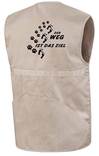 Hundesport-Weste | Der Weg ist das Ziel | Beige | Brust- und Rückendruck | Größe XXL