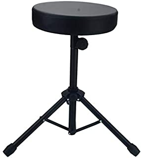 Non-adjustable Folding Percussion Drum Stool Round Seat with Tripod Base Foldable Anti-Slip Feet for Adults and Kids