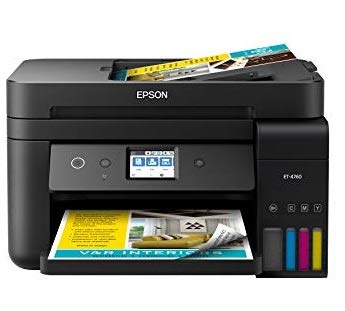 Epson EcoTank ET-4760 Wireless Color All-in-One Cartridge-Free Supertank Printer with Scanner, Copier, Fax, ADF and Ethernet - Black