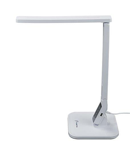 Fugetek LED Table Desk Lamp, 5-Levels of Brightness, Dimmable, Touch Sensor Panel, 530 Lumen, 1-Hour Auto Timer, Philips Enabled Licensing Program Member, White