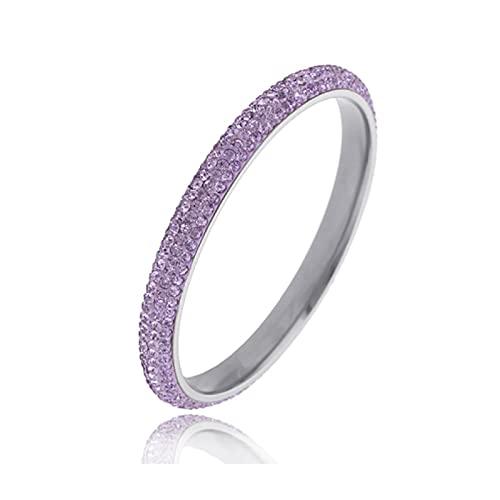 Pulsera ZIYUYANG, pulsera de acero inoxidable con joyas de cristal para mujer Vielet