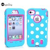 TERRANCE COLLINS iPhone 4s Case, iPhone 4 Case, Magicsky iPhone 4g New Case with Polka Dots Pettern Full Body Hybrid Impact Shockproof Defender Case Cover for Apple iPhone 4/4s, 1 Pack(Hot Pink/Blue)