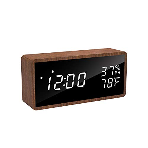 Rospick Reloj Despertador Digital de Madera, Reloj Digital LED, Temperatura de Humedad, Control acústico, para Dormitorio, habitación Infantil y Oficina