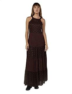 فستان نسائي طويل بياقة مستديرة وبدون أكمام بتصميم فتحة مفاتيح وظهر مفتوح من الخلف