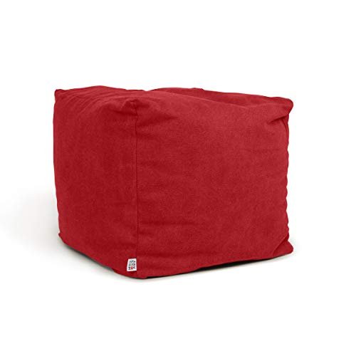 Arketicom Soft Cube Pouf Sacco Poggiapiedi Morbido Quadrato Sfoderabile Puff da Salotto 42x42 Rosso