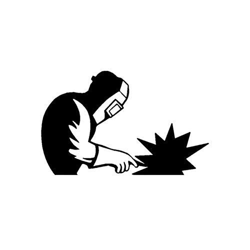 MISDD Autoaufkleber 17.9cm * 11.1cm Hochwertiges Welder Zubehör Auto-Fenster-Aufkleber-Abziehbild-Schwarz-Silber (Color Name : Black)