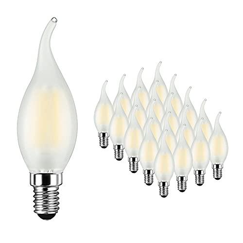 Lampadina Candela LED E14 6W Equivalenti 60W, 600Lm, Bianca Fredda 6500K, Lampadina Candela Fiamma per Lampadari di Cristallo e Illuminazione Decorativa, Vetro Opaco, AC 220-240V, 20 Pezzi - MAYCOLOR