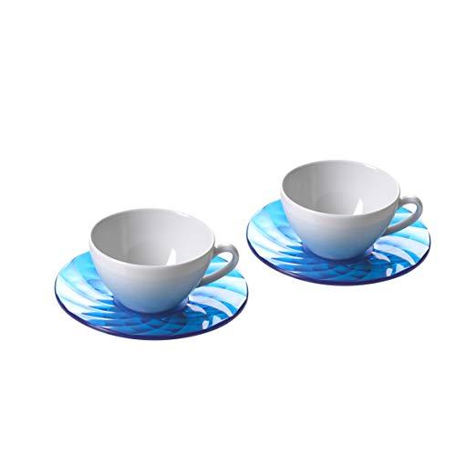 Omada Design 2 tazas de té en porcelana y platos de colores prácticos, en acrílico efecto diamante, Diamond Collection