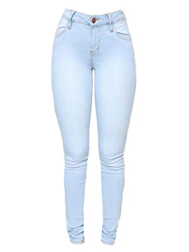 Andongnywell Women's Stretch Pants Skinny Slim Pencil Jeans High Waisted Jegging Trousers with Pockets Zipper (Light Blue,Large)