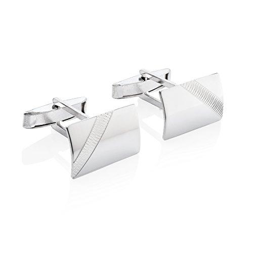STERLL Herren Manschettenknöpfe Hochzeit Sterling-Silber 925 Glänzend mit Gezacktem Muster Geschenkverpackung Männergeschenke