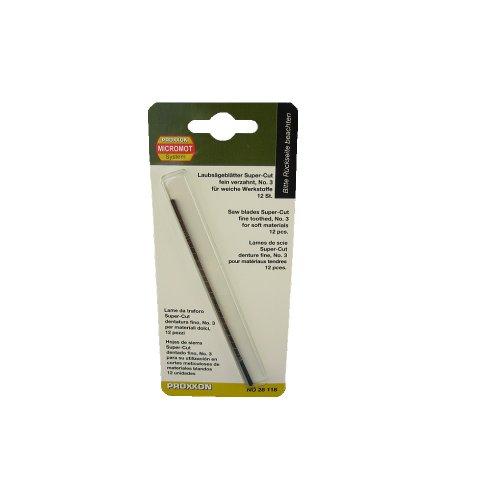 PROXXON 28118 Super-Cut Laubsägeblätter fein verzahnt ohne Querstift 12 Stück