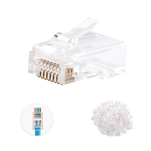 Cable Matters 100 Pack Pass Through RJ45 Modular Plugs for Solid or Stranded UTP Cable
