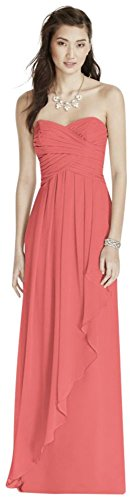 Strapless Crinkle Chiffon Bridesmaid Dress with Cascade Skirt Style W10840, Coral Reef, 10