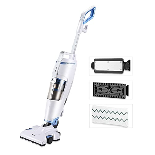 Moolan Steam Mop and Vacuum Cleaner All in One Wet-Dry Steam and 18Kpa Vacuum Cleaner Combo with HEPA Filtration for Hardwood, Tile, Laminated Floors, Steam and Vac At The Same Time For Deep Cleaning