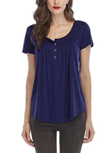 Ruiyige Women Henley Blouses Short Sleeve - V Neck Button Up Tunic Tops Ruffle Flowy Short Sleeve T Shirts,Purplish Blue S