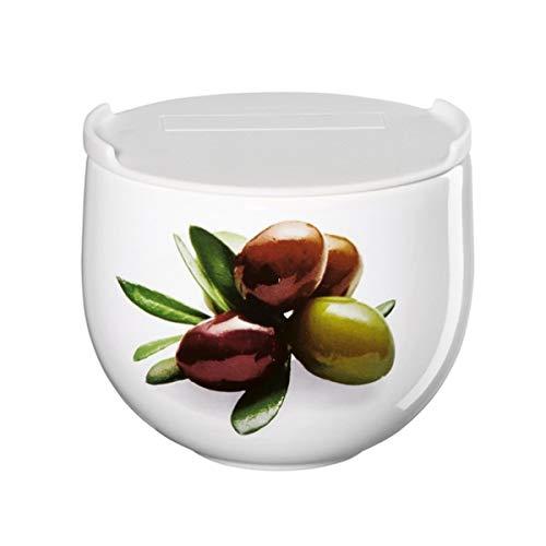 ASA Vorratsdose mit Oliven Aufdruck, aus Porzellan hergestellt, mit PE-Deckel, Durchmesser: 9,5cm, 41912147