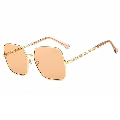 Gafas de Sol Sunglasses Monturas De Gafas para Mujer, Gafas De Sol Doradas Y Plateadas A La Moda para Mujer, Gafas De Espejo Plano con Luz Antiazul 4TeaAnti-UV