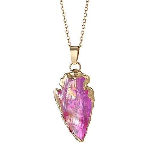 AMOZ Collar con Colgante de Piedras Preciosas de Cristal Triangular Irregular Natural para Mujer, Gargantilla de Cristal Curativo con Amuleto de Amatista Chakra