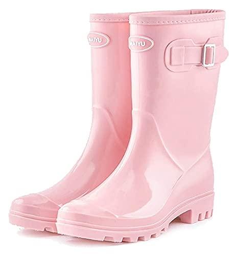 NIANXINN Botas de Lluvia de Tubos Medios livianos y Antideslizantes para Damas Rosas Botas de Lluvia al Aire Libre con diseño de Hebilla Botas de Lluvia (Color : Pink, Size : 38 EU)