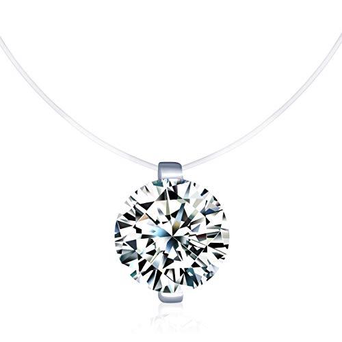 Unendlich U Kreativ Solitär Kette 925 Sterling Silber Mehrfarbig Zirkonia Damen Halskette Anhänger Transparente Angelleine Nylonkette (Silber(mit Geschenkbox))