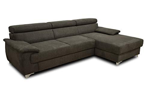 DOMO. collection Niria Ecksofa | Eckcouch mit Schlaffunktion und Rückenfunktion | Sofa L Form Couch, Schlafsofa, anthrazit, 271x167x78 cm