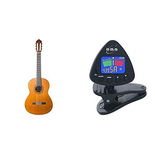 """Yamaha C40 II Guitarra Clásica Guitarra 4/4 de madera, 65 cm 25 9/16"""", 6 cuerdas de nylon + Eno Clip para afinador de guitarra y ukelele, Sintonizador de bajos y violín"""