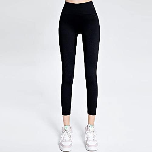 Bossoshe Leggins Mujer Push Up -Pantalones de Yoga Suaves de Cintura Alta, Caderas Pantalones Deportivos Apretados-Negro_L